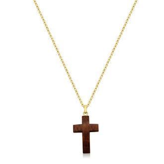 Koa Wood and Gold Plated Stainless Steel Cross Necklace With Free Custom Engraving, 24 Inches