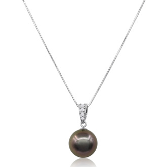 10-11MM AAA Cultured Black Tahitian Pearl Necklace In 18 Karat White Gold With Crystal Accents, 18 Inches