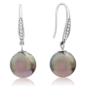 9-9.5MM AAA Cultured Black Tahitian Pearl and Crystal Dangle Earrings In 18 Karat White Gold