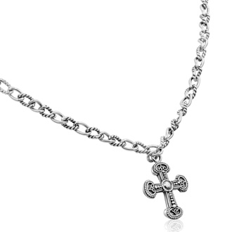 Balinese Hand Crafted Sterling Silver Cross Necklace, 18 Inches