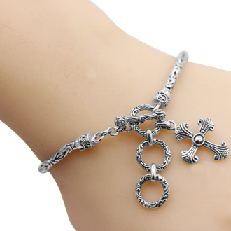 Balinese Hand Crafted Sterling Silver Cross Toggle Bracelet