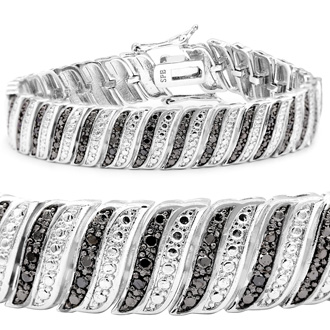 1 Carat Black Diamond Wave Bracelet. Our Most Beautiful And Dramatic Style!