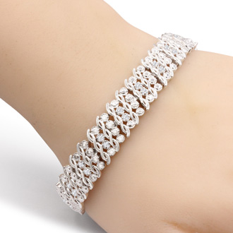 Heavy 1 Carat Diamond Bracelet, 7 Inches. Very Popular, Beautiful, Shiny Platinum-Plated Diamond Bracelet!