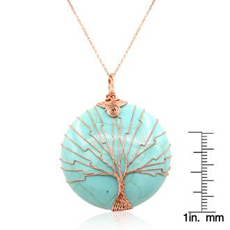 Rose Gold Tree of Life Wire Wrapped Turqoise Circle Necklace, 18 Inches