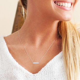 Silver Overlay Bar Necklace With Free Custom Engraving, 17 Inches - 1 Inch Bar