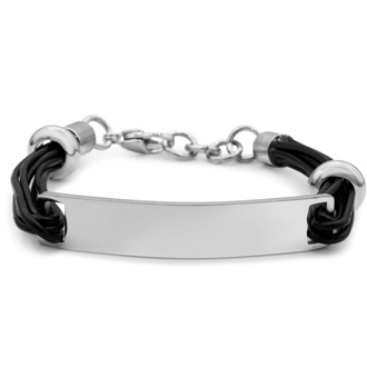 Mens Stainless Steel and Leather ID Bracelet, With Free Custom Engraving