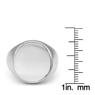 Mens Stainless Steel Circle Signet Ring, With Free Custom Engraving