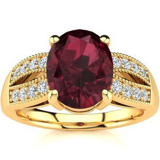 2 Carat Oval Shape Garnet and Diamond Ring In 14 Karat Yellow Gold