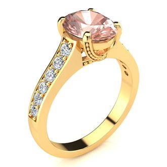 2 Carat Oval Shape Morganite and Diamond Ring In 14 Karat Yellow Gold