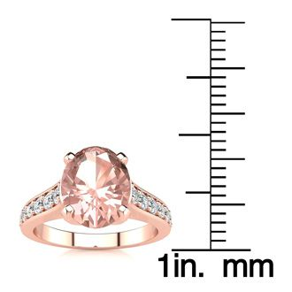 2 Carat Oval Shape Morganite and Diamond Ring In 14 Karat Rose Gold