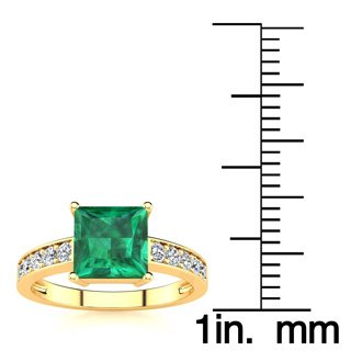 Square Step Cut 1 3/4ct Emerald and Diamond Ring in 14K Yellow Gold