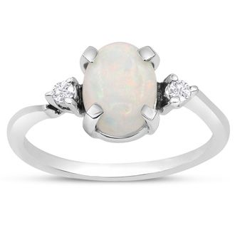 7/8 Carat Opal and Two Diamond Ring In 14 Karat White Gold