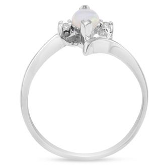 1/2 Carat Marquise Shape Opal and Two Diamond Ring In 14 Karat White Gold