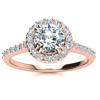 1 Carat Perfect Halo Diamond Engagement Ring In 14K 14 Karat Rose Gold