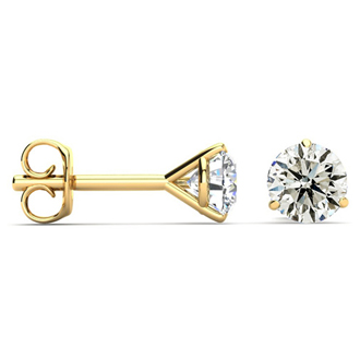 SPECIAL PURCHASE!  1ct Diamond Stud Earrings in 14k Yellow Gold Martini Setting.