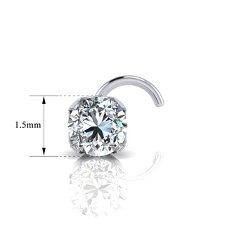 0.015ct 1.5mm Diamond Nose Ring In 14K White Gold