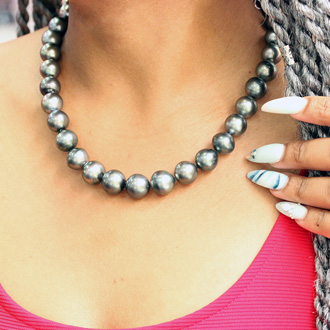 11-13MM Peacock Tahitian South Sea Pearl Strand Necklace With 14K White Gold Clasp, 18 Inches AAA Quality