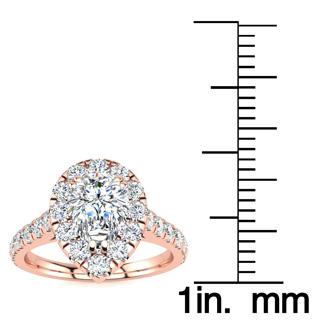 1 Carat Pear Halo Diamond Engagement Ring in 14k Rose Gold