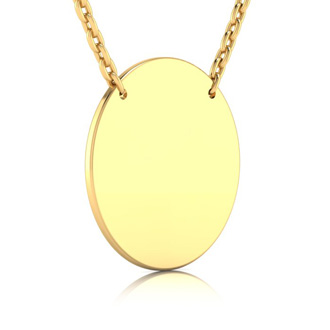 14K Yellow Gold Over Sterling Silver Disc Necklace With Countess Luann Signature Statement Engraved, 18 Inches