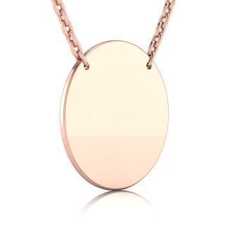 14K Rose Gold Over Sterling Silver Disc Necklace With Countess Luann Signature Statement Engraved, 18 Inches