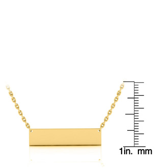 14K Yellow Gold Over Sterling Silver Bar Necklace With Countess Luann Signature Statement Engraved, 18 Inches