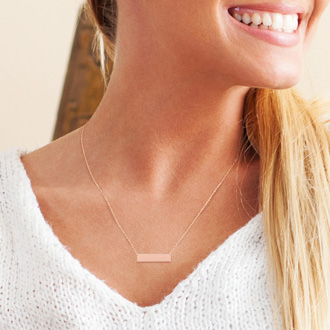 14K Rose Gold Over Sterling Silver Bar Necklace With Countess Luann Signature Statement Engraved, 18 Inches