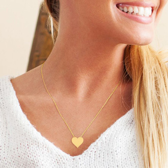 14K Yellow Gold Over Sterling Silver Heart Necklace With Countess Luann Signature Statement Engraved, 18 Inches