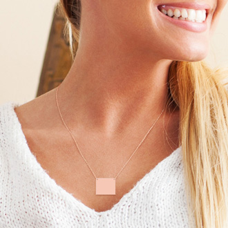 14K Rose Gold Over Sterling Silver Rectangular Necklace With Countess Luann Signature Statement Engraved, 18 Inches