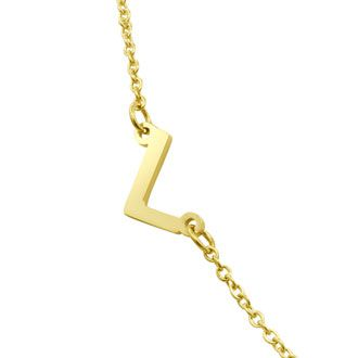 Dainty L Initial Sideways Necklace In Gold Overlay, 16 Inches