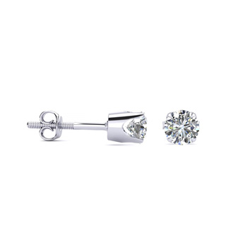 Colorless 1/3 Carat Diamond Stud Earrings in 14K Gold, D-E-F Diamonds. Guaranteed Conflict-Free. Amazing Price For Fantastic Earrings!