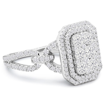1 3/4 Carat Pave Diamond Engagement Ring In 14K White Gold