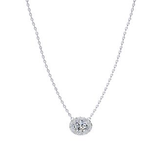 1/2 Carat Oval Shape Halo Diamond Necklace In 14K White Gold