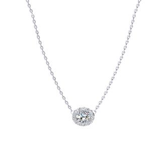 1/4 Carat Oval Shape Halo Diamond Necklace In 14K White Gold