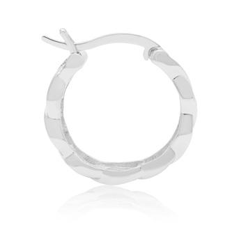 Elegant Diamond Hoop Earrings, Rhodium Plated  Overlay, 3/4 Inch