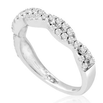 1/4 Carat Diamond Crossover Band In White Gold