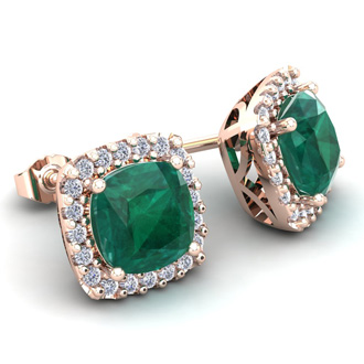 2 1 2 Carat Cushion Cut Emerald And Halo Diamond Stud Earrings In 14 Karat Rose Gold