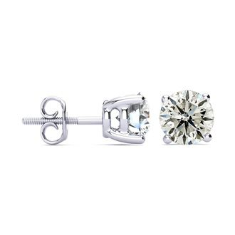 Special Purchase! 3 Carat Diamond Stud Earrings In 14 Karat White Gold