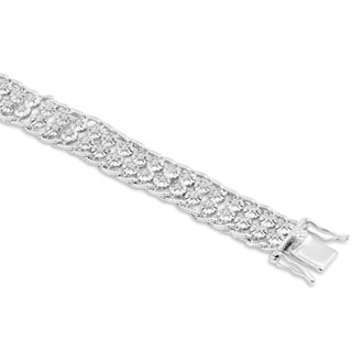 BLOWOUT, FINAL SALE!! 2-Row Rope Look Natural Raw Diamond Bracelet, Platinum Overlay, 7 Inches.  Big Fantastic Look!