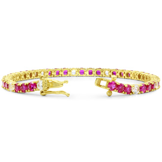12 Carat Created Ruby and Diamond White Sapphire Tennis Bracelet In 14K Yellow Gold Over Sterling Silver, 7 Inches