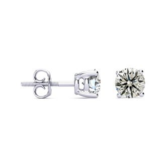 Very Limited Quantity! 1.25 Carat Fiery Natural Diamond Stud Earrings in 14K White Gold
