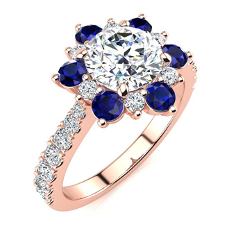 2 Carat Round Shape Flower Halo Sapphire and Diamond Engagement Ring In 14K Rose Gold