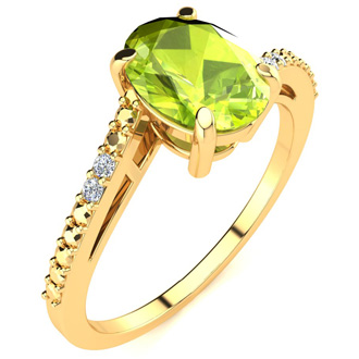 1 1/3ct Oval Shape Peridot and Diamond Ring in 10k Yellow Gold