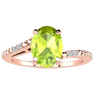 1 1/3ct Oval Shape Peridot and Diamond Ring in 10k Rose Gold