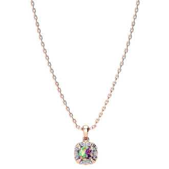 2 1/2ct Cushion Cut Mystic Topaz and Diamond Necklace In 10K Rose Gold