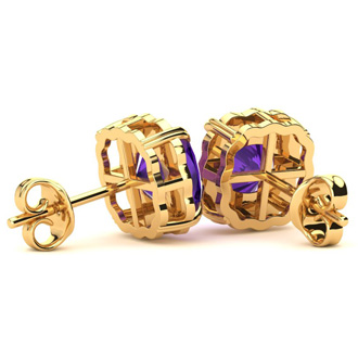 2ct Cushion Cut Amethyst and Diamond Earrings in 10k Yellow Gold