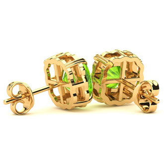 2ct Cushion Cut Peridot and Diamond Earrings in 10k Yellow Gold