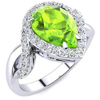 2 1/2ct Pear Shape Peridot and Diamond Ring in 14K White Gold