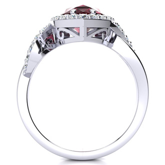 2 1/2ct Pear Shape Garnet and Diamond Ring in 14K White Gold