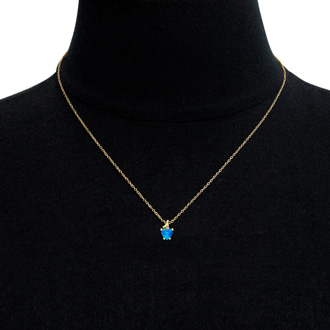 1/2ct Blue Topaz and Diamond Heart Necklace in 10k Yellow Gold