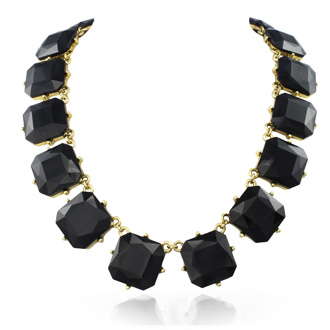 Fine Black Crystal Cushion Strand Necklace, 18 Inches